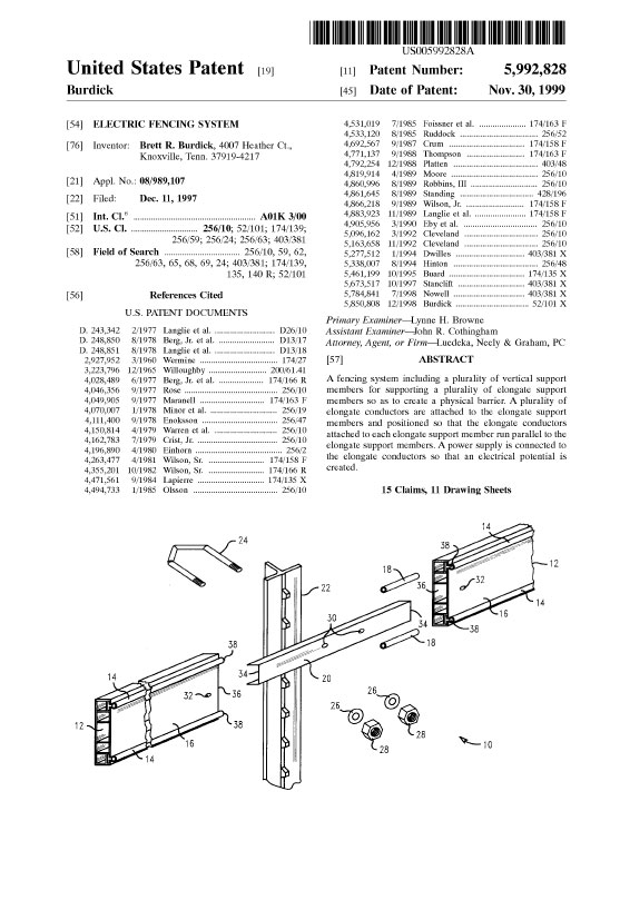 Patent Electric Fencing System