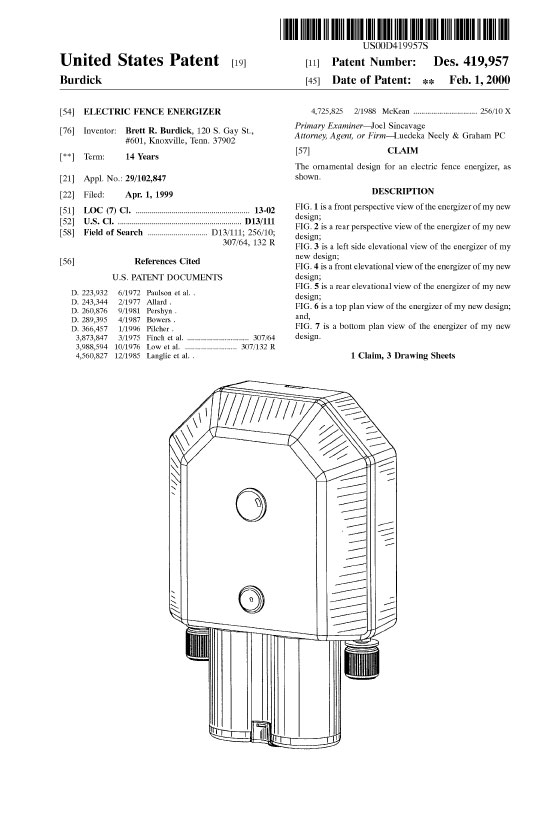 Patent Electric Fence Energizer