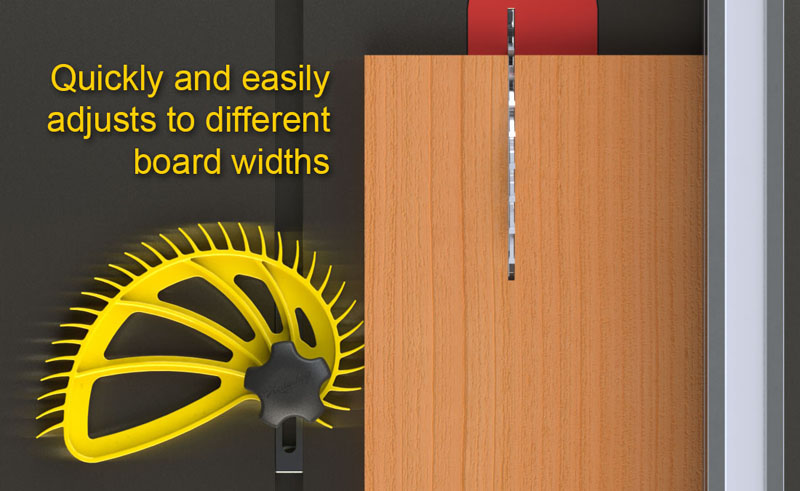 Hedgehog featherboard adjusts to different board widths