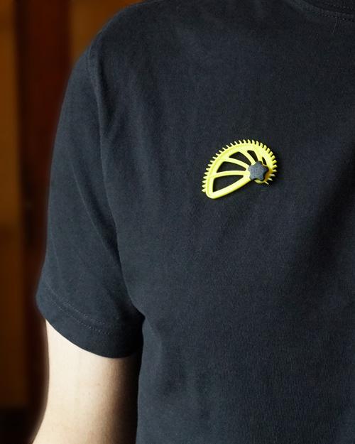 mini Hedgehog magnet on tee shirt