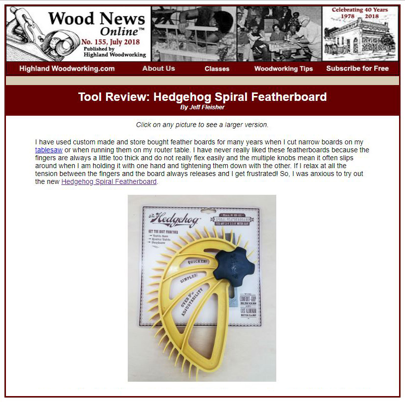 Wood news online review of Hedgehog featherboard