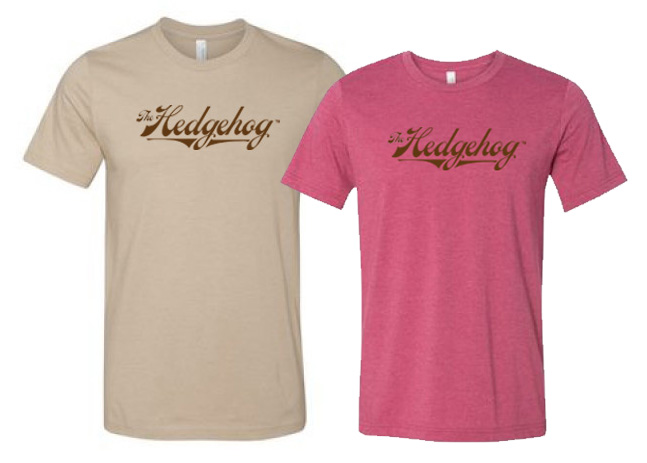 Hedgehog logo tee shirt tan raspberry pink
