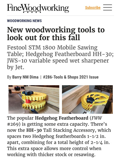 Fine Woodworking Magazine Hedgehog stacking accessory winter 2020 2021